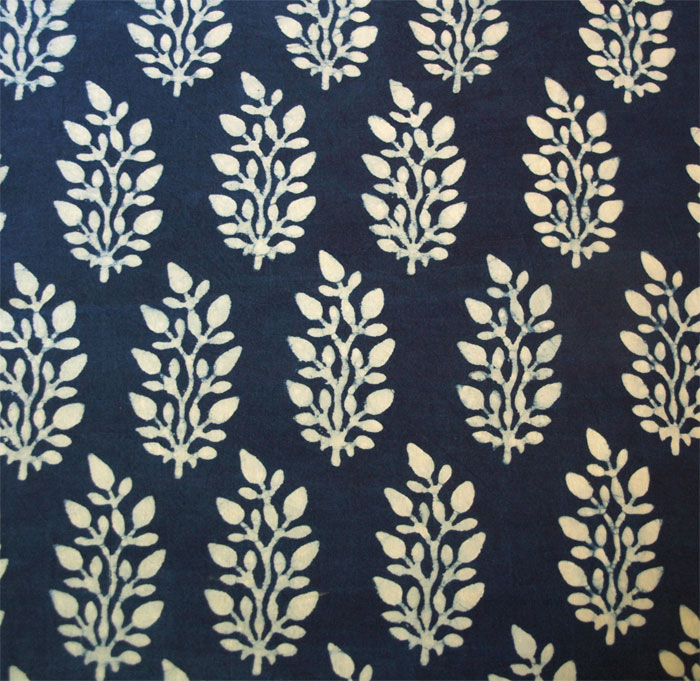 Details about Hand Block Print, Cotton Fabric. Natural Indigo Dye